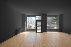 Odnawiący sklep, sklep/- pusty pokój z drewnianą podłoga i shoppi zdjęcie stock