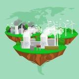 Odnawialnej ekologii energetyczne ikony, zielonej miasto władzy zasobów alternatywny pojęcie, środowiska save nowa technologia, s Fotografia Royalty Free