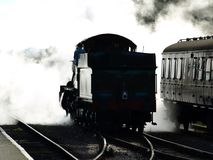 Odney Manor. Silhouette of Odney Manor in steam at Minehead station west somerset railway Royalty Free Stock Photos