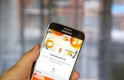 Odnoklassniki app op Samsung S7 stock fotografie