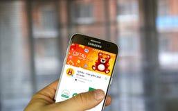 Odnoklassniki Gift4U app på Samsung S7 Arkivbilder