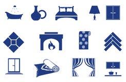 odnosić sie ikony domowy wnętrze Zdjęcia Royalty Free