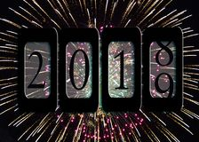 Odomètre 2019 de nouvelle année avec des feux d'artifice Image libre de droits