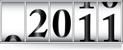 Odometar for  2011 year. Odometer for new 2011 year Royalty Free Stock Photo