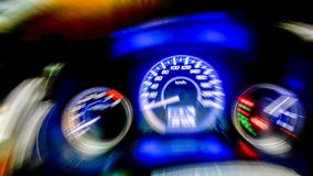 Odometer dashboard console. Abstract blur zoom fast Stock Image