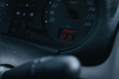 On the odometer 99999 miles Stock Photos