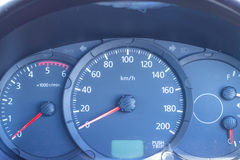 Odometer speedometer in the car to drive there. Royalty Free Stock Photography