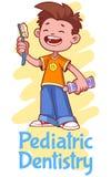 Odontoiatria pediatrica Manifesto con un ragazzo Fotografie Stock Libere da Diritti