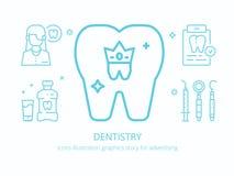 Odontología: gráficos del ejemplo de los iconos fotos de archivo libres de regalías