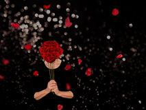 Odori il concetto della gioia o di consapevolezza delle rose Fotografia Stock Libera da Diritti