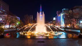 Odori park fountain and Sapporo TV tower , Hokkaido Royalty Free Stock Images