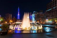 Odori park at night, Sapporo Royalty Free Stock Photography
