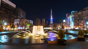 Odori park and Sapporo TV tower Stock Photography
