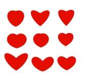 Odosobneni abstrakcjonistyczni czerwonego koloru serca różni kształtów logowie kolekcja, miłość symbole ustawiają wektorową ilust Obraz Stock