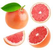 Odosobneni cali i rżnięci grapefruits inkasowi Obraz Stock