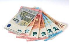 Odosobneni europejscy euro banknoty na białym tle Zdjęcia Stock