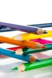 Odosobneni kolorów ołówki, biały tło Fotografia Royalty Free