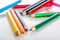 Odosobneni kolorów ołówki, biały tło Obraz Stock