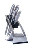 odosobneni kuchenni knifes ustawiają biel Fotografia Stock