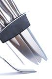 odosobneni kuchenni knifes ustawiają biel Zdjęcie Royalty Free