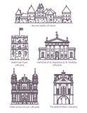Odosobneni Lithuania sławni punkty zwrotni w cienkiej linii royalty ilustracja