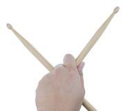Odosobneni męscy lewej ręki mienia bębenu kije Zdjęcie Royalty Free