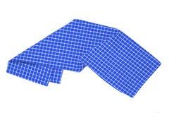 odosobneni ręczniki W górę błękitnej, białej w kratkę tablecloth tekstury odizolowywającej na białym tle i Kuchnia zdjęcie royalty free