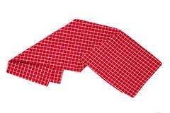 odosobneni ręczniki W górę czerwonej, białej w kratkę tablecloth tekstury odizolowywającej na białym tle i Kuchnia obrazy royalty free