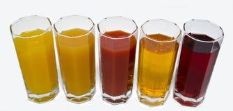 Odosobneni szkła sok na bielu Fotografia Royalty Free