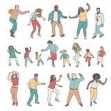 Odosobneni tanów ludzie, dzieci i dorosli, ilustracja wektor