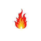 Odosobniona abstrakcjonistyczna czerwień i pomarańczowy koloru ogień płoniemy loga na białym tle Ognisko logotyp Korzenny karmowy Fotografia Royalty Free