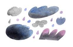 Odosobniona akwareli ilustracja chmury i deszcz opuszcza set dla prognozy pogody na białym tle royalty ilustracja