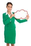Odosobniona biznesowa kobieta trzyma białego plakat w zieleni Obrazy Royalty Free