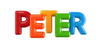 Odosobniona colorfull 3d dzieciaka imienia balonu chrzcielnica Peter ilustracja wektor