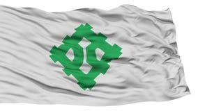 Odosobniona Fukui flaga, kapitał Japonia prefektura, Macha na Białym tle Obraz Stock