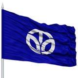 Odosobniona Fukui Japonia prefektury flaga na Flagpole Obrazy Stock