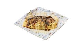 Odosobniona japończyka Omlette polewa z kumberlandem, Mayonaise, Katsuobushi suszył, fermentujący i dymiący skipjack gałęzatka, i Obrazy Royalty Free