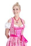 Odosobniona kobieta jest ubranym menchii suknię Zdjęcia Royalty Free