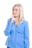 Odosobniona mądra i nieśmiała młoda powabna biznesowa kobieta w błękitnym bl Zdjęcia Stock