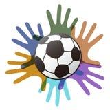 Odosobniona piłki nożnej piłka na kolor rękach royalty ilustracja