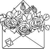 Odosobniona pociągany ręcznie Kraft koperta z kwiatami, sylwetka ilustracja wektor