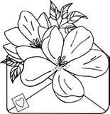 Odosobniona poci?gany r?cznie Kraft koperta z kwiatami, sylwetka royalty ilustracja