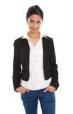 Odosobniona pomyślna szczęśliwa indyjska biznesowa kobieta nad bielem zdjęcie stock