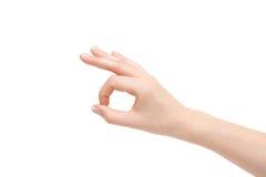 Odosobniona pusta żeńska ręka na białym tle Obrazy Stock