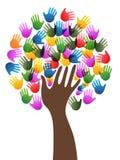 Odosobniona różnorodność wręcza drzewnego tło ilustracji