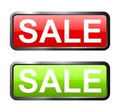 Sprzedaży czerwień i zielonego szkła guziki Obrazy Stock