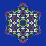 Odosobniona wektorowa ilustracja Abstrakcjonistyczny kwiecisty wystrój Ozdobne sześć punktów gwiazd, mandala z roczników motywami ilustracji