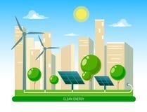 Odosobniona wektorowa ilustracja czysta elektryczna energia od odnawialnych źródeł słońce i wiatr Elektrownia stacyjni budynki z  ilustracja wektor