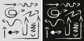Odosobniona wektorowa ręka rysować strzała ustawiać na białym tle royalty ilustracja