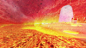 Odosobniona wyspa w morzu lawa i spada meteory zdjęcie wideo